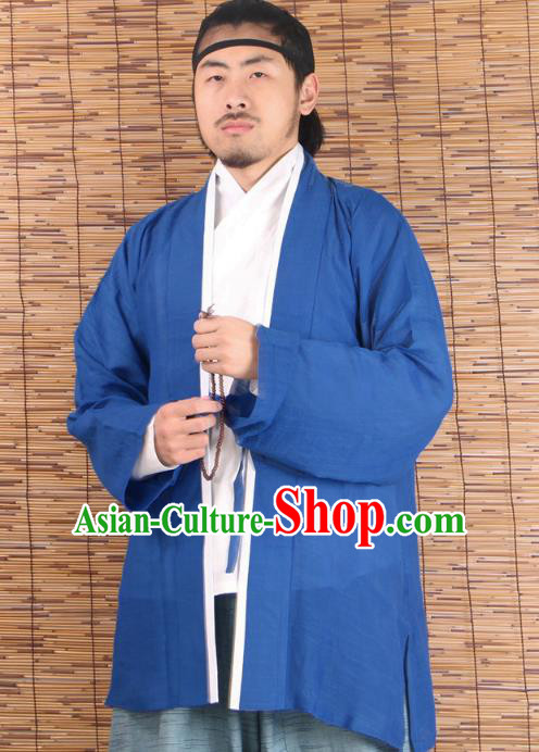 Asian China Ming Dynasty Swordsman Costume Blue Shirts, Traditional Ancient Chinese Youxia Hanfu BeiZi Clothing for Men
