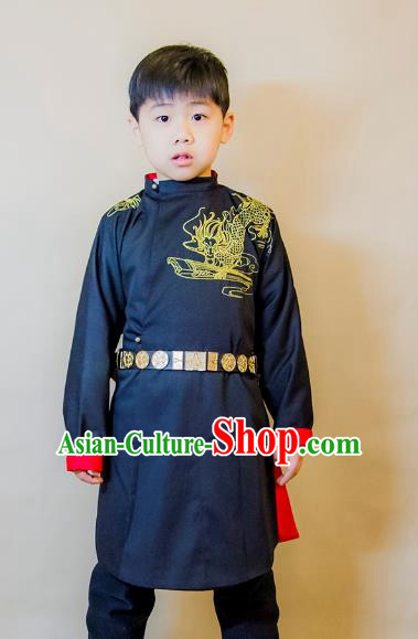 Asian China Tang Dynasty Swordsman Costume Blue Robe, Traditional Ancient Chinese Chancellor Hanfu Clothing for Kids
