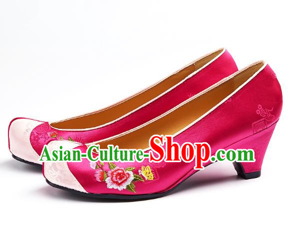 Traditional Korean National Embroidered Shoes, Asian Korean Hanbok Rosy Wedding Shoes for Women