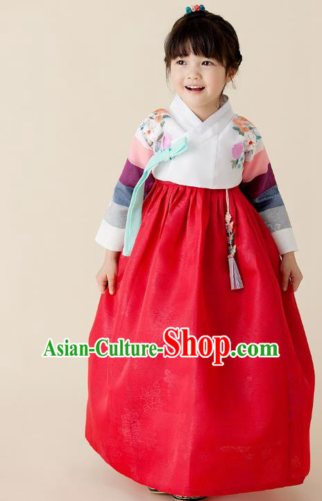 Traditional Korean Hanbok Embroidered Clothing, Asian Korean Fashion Apparel Hanbok Embroidery Costume for Kids