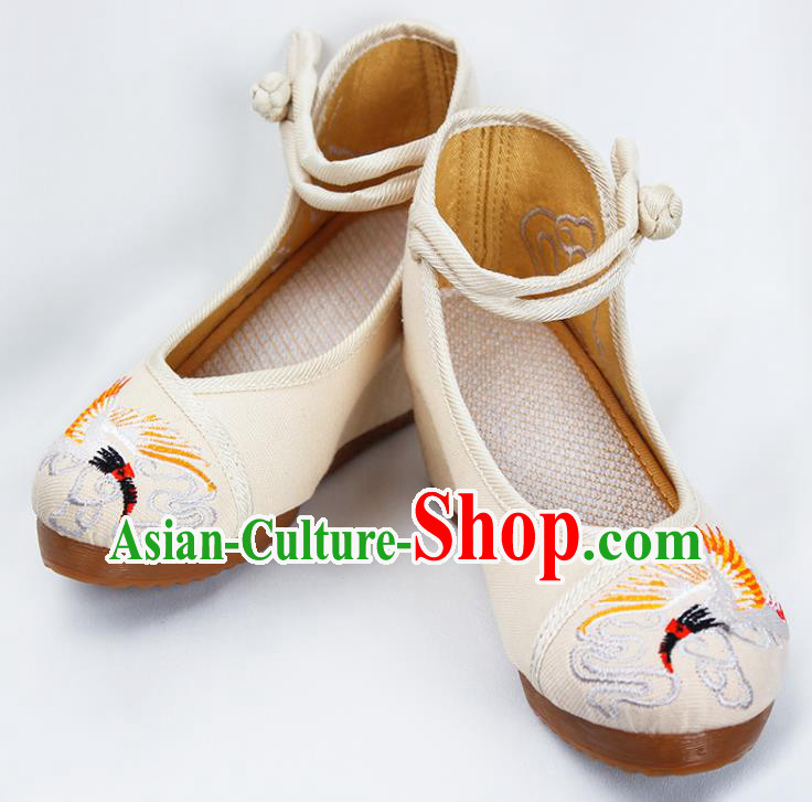 Asian Chinese Shoes Wedding Shoes Princess Shoes, Traditional China Handmade Hanfu Shoes Embroidered Crane Shoes for Women