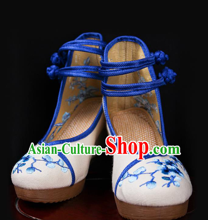 Asian Chinese Shoes Wedding Shoes Princess Shoes, Traditional China Handmade Hanfu Shoes Embroidered Wintersweet Shoes for Women