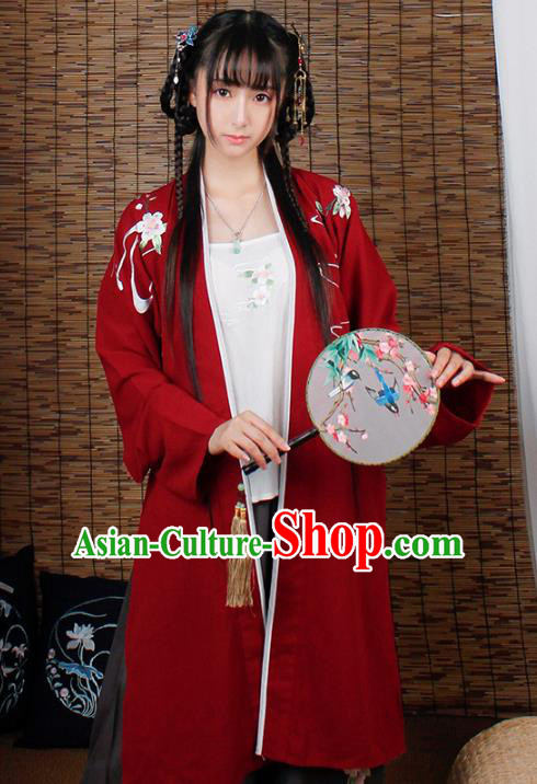 Asian China Song Dynasty Princess Costume, Traditional Ancient Chinese Young Lady Embroidered Hanfu Clothing for Women