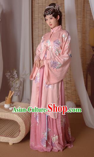 Asian China Ming Dynasty Princess Costume Complete Set, Traditional Ancient Chinese Palace Lady Hanfu Embroidered Clothing for Women