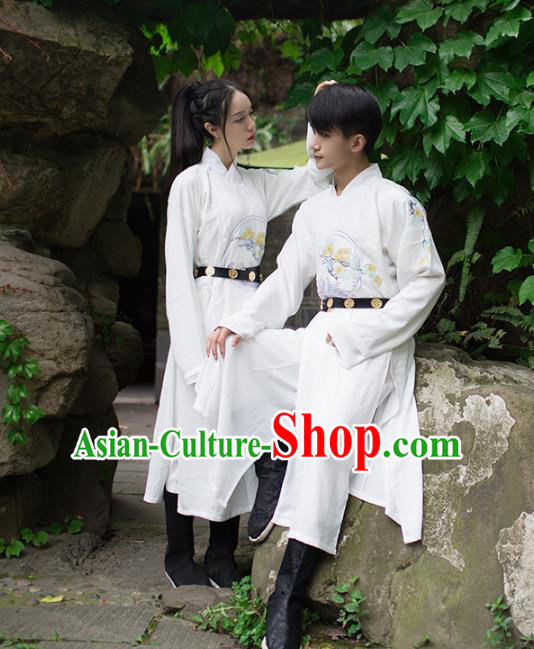 Asian China Ming Dynasty Costume White Robe, Traditional Ancient Chinese Swordsman Hanfu Embroidered Clothing for Women for Men
