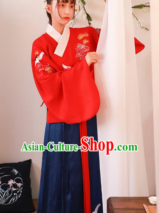 Asian China Ming Dynasty Young Lady Costume Red Blouse and Skirt, Traditional Ancient Chinese Princess Hanfu Embroidered Clothing for Women