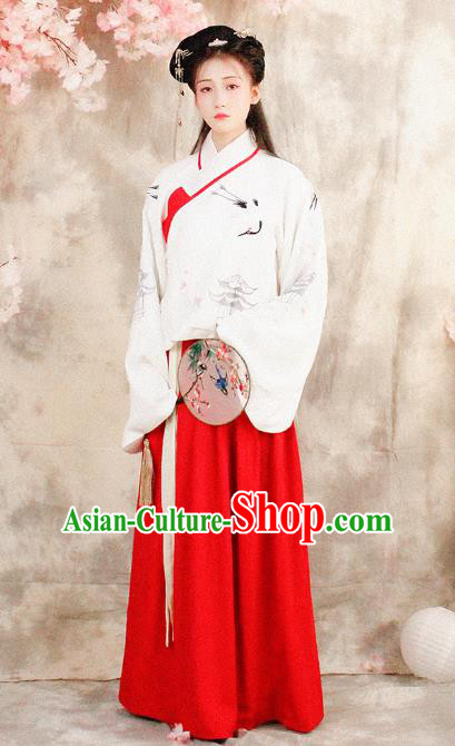 Asian China Ming Dynasty Imperial Princess Costume, Traditional Ancient Chinese Hanfu Embroidered Blouse and Skirt Clothing for Women