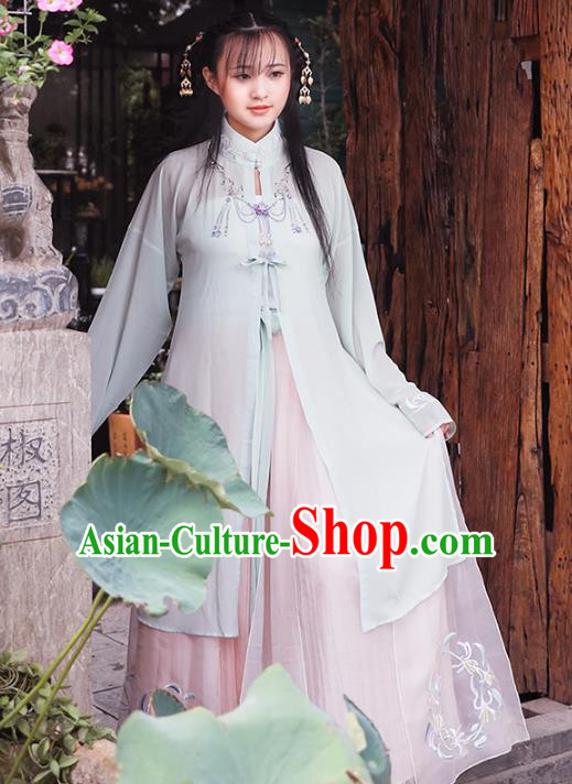 Asian China Ming Dynasty Palace Lady Costume, Traditional Ancient Chinese Imperial Princess Hanfu Embroidered Blouse and Skirt Clothing for Women