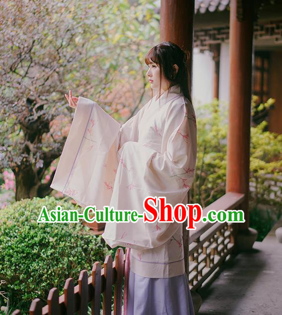 Asian China Han Dynasty Palace Lady Costume, Traditional Ancient Chinese Imperial Princess Hanfu Embroidered Clothing for Women