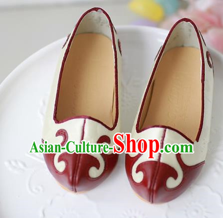 Traditional Korean National Embroidered Shoes, Asian Korean Hanbok Children White Shoes for Boys