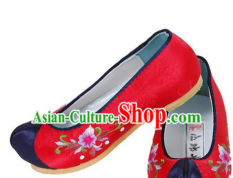 Traditional Korean National Girls Embroidered Shoes, Asian Korean Hanbok Children Red Bride Shoes for Kids
