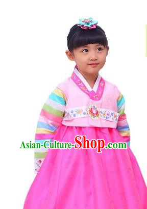 Traditional Korean National Girls Handmade Court Embroidered Clothing, Asian Korean Apparel Hanbok Embroidery Rosy Dress Costume for Kids