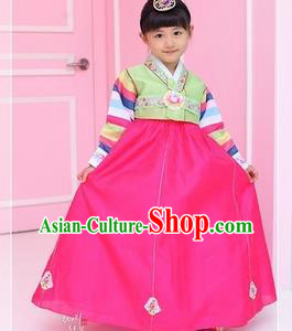 Traditional Korean National Girls Handmade Court Embroidered Clothing, Asian Korean Apparel Hanbok Embroidery Green Costume for Kids