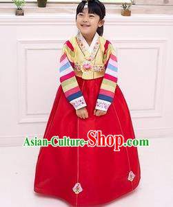 Traditional Korean National Girls Handmade Court Embroidered Clothing, Asian Korean Apparel Hanbok Embroidery Yellow Costume for Kids