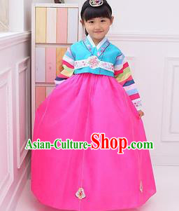 Traditional Korean National Girls Handmade Court Embroidered Clothing, Asian Korean Apparel Hanbok Embroidery Blue Costume for Kids