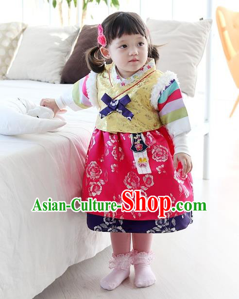 Traditional Korean National Handmade Court Embroidered Clothing, Asian Korean Bride Hanbok Costume for Kids