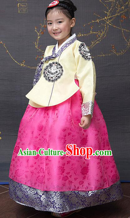 Traditional Korean National Top Grade Handmade Court Embroidered Clothing, Asian Korean Bride Hanbok Yellow Blouse and Pink Dress for Kids