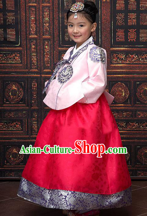 Traditional Korean National Top Grade Handmade Court Embroidered Clothing, Asian Korean Bride Hanbok Pink Blouse and Red Dress for Kids