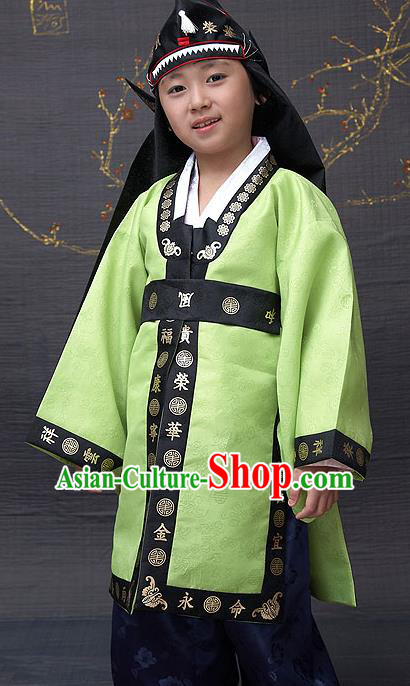 Traditional Korean National Top Grade Handmade Court Embroidered Costume, Asian Korean Boys Green Hanbok Clothing for Kids