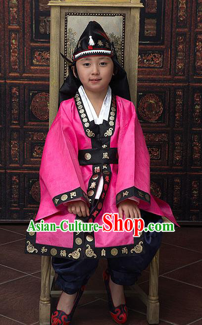 Traditional Korean National Top Grade Handmade Court Embroidered Costume, Asian Korean Boys Rosy Hanbok Clothing for Kids