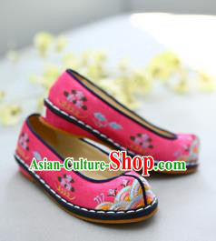 Traditional Korean National Wedding Pink Embroidered Shoes, Asian Korean Hanbok Bride Shoes for Kids