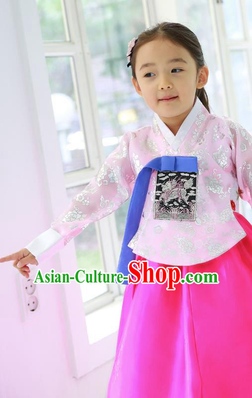 Traditional Korean National Handmade Court Embroidered Costume, Asian Korean Girls Hanbok Clothing for Kids
