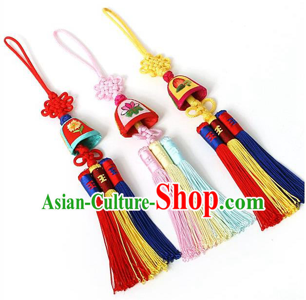 Traditional Korean Accessories Embroidered Bells Waist Pendant, Asian Korean Fashion Wedding Tassel Waist Decorations for Kids