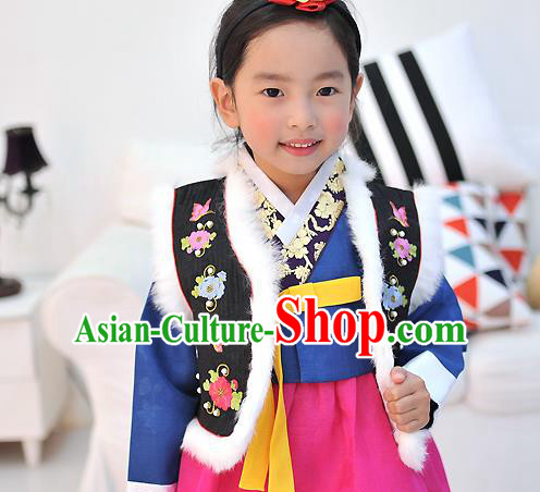 Traditional Korean National Handmade Court Embroidered Black Vest, Asian Korean Bride Waistcoat Costume for Kids