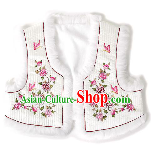 Traditional Korean National Handmade Court Embroidered Peony White Vest, Asian Korean Bride Waistcoat Costume for Kids