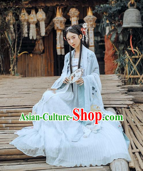Asian China Tang Dynasty Palace Lady Fairy Dance Costume, Traditional Ancient Chinese Imperial Princess Hanfu Embroidered Clothing for Women