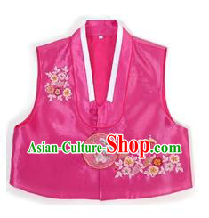 Traditional Korean Handmade Hanbok Purple Embroidered Vest, Asian Korean Apparel Hanbok Embroidery Bride Waistcoat for Girls