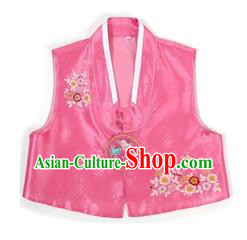 Traditional Korean Handmade Hanbok Pink Embroidered Vest, Asian Korean Apparel Hanbok Embroidery Bride Waistcoat for Girls