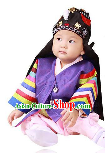 Traditional Korean Handmade Hanbok Embroidered Costume, Asian Korean Apparel Hanbok Embroidery Clothing for Boys