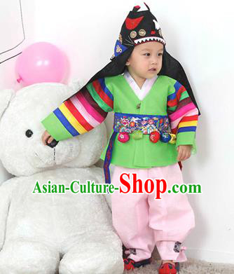 Traditional Korean Handmade Hanbok Embroidered Green Costume, Asian Korean Apparel Hanbok Embroidery Clothing for Boys