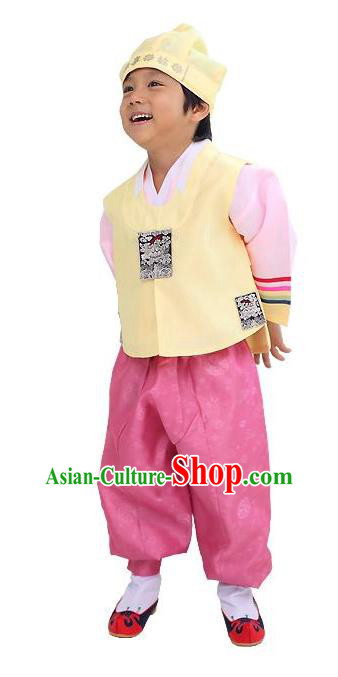 Traditional Korean Handmade Hanbok Embroidered Yellow Formal Occasions Costume, Asian Korean Apparel Hanbok Clothing for Boys