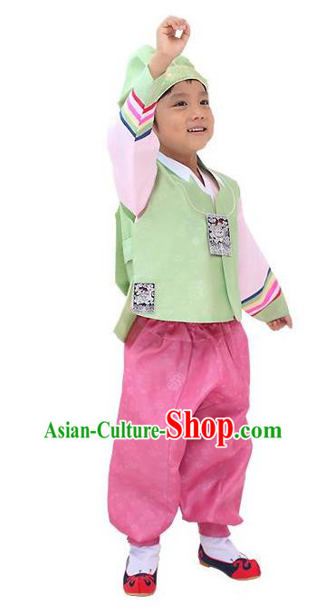 Traditional Korean Handmade Hanbok Embroidered Green Formal Occasions Costume, Asian Korean Apparel Hanbok Clothing for Boys