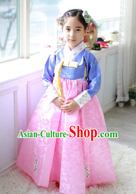 Traditional Korean Handmade Hanbok Embroidered Formal Occasions Costume, Asian Korean Apparel Hanbok Dress Clothing for Girls