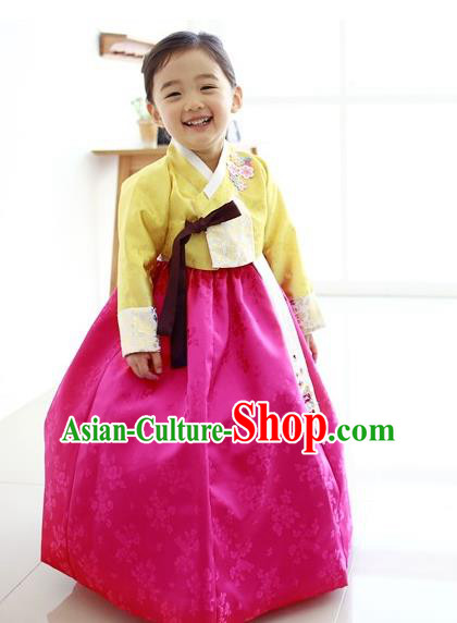 Traditional Korean Handmade Embroidered Formal Occasions Rosy Dress Costume, Asian Korean Apparel Hanbok Clothing for Girls