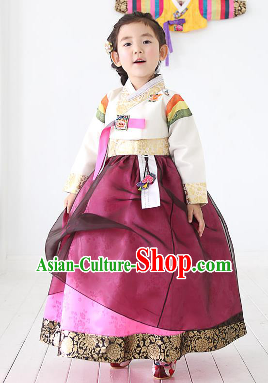 Traditional Korean Handmade Embroidered Formal Occasions Costume, Asian Korean Apparel Hanbok Purple Dress Clothing for Girls