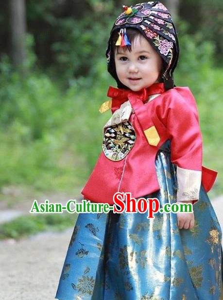 Traditional Korean Handmade Embroidered Formal Occasions Costume, Asian Korean Apparel Hanbok Green Dress Clothing for Girls