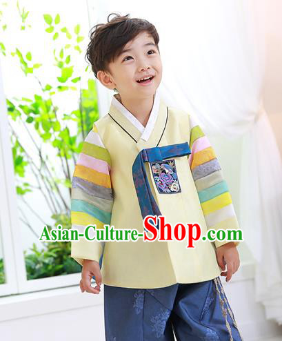 Traditional Korean Handmade Formal Occasions Embroidered Baby Prince Yellow Hanbok Clothing