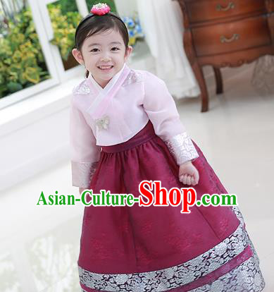 Traditional Korean Handmade Formal Occasions Embroidered Baby Princess Hanbok Wine Red Dress Clothing for Girls