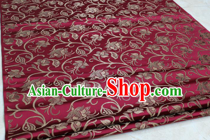 Chinese Traditional Palace Pattern Tang Suit Cheongsam Wine Red Brocade Fabric, Chinese Ancient Costume Hanfu Mongolian Robe Material