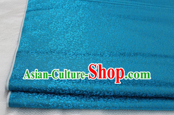 Chinese Traditional Palace Pattern Tang Suit Cheongsam Lake Blue Brocade Fabric, Chinese Ancient Costume Hanfu Satin Material