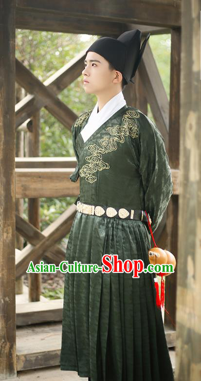 Traditional Chinese Ming Dynasty Swordsmen Clothing Ancient Imperial Bodyguard Hanfu Embroidered Costume for Men