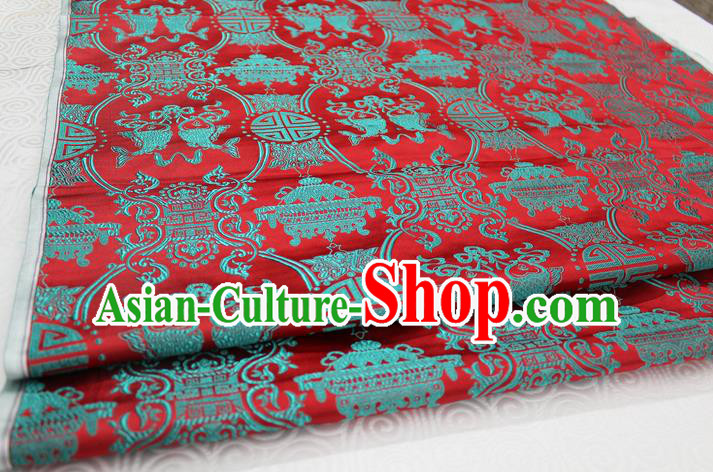 Chinese Traditional Ancient Costume Palace Double Fish Pattern Red Nanjing Brocade Cheongsam Satin Mongolian Robe Fabric Hanfu Material