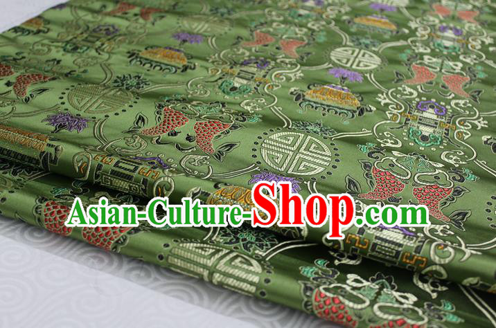 Chinese Traditional Ancient Costume Palace Double Fish Pattern Olive Green Nanjing Brocade Cheongsam Satin Mongolian Robe Fabric Hanfu Material