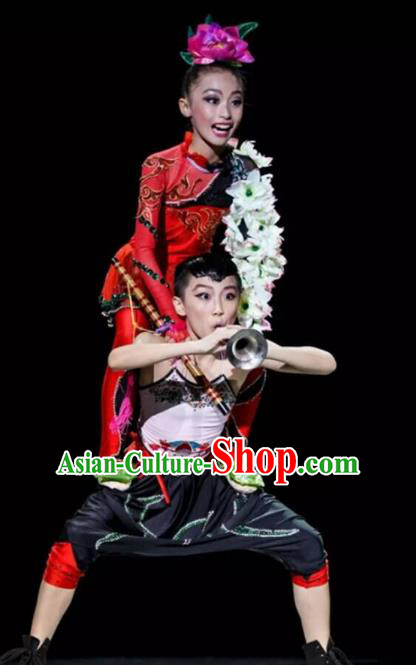 Traditional Chinese Classical Yangge Fan Dance Costume, Folk Dance Drum Dance Uniform Yangko Clothing for Kids
