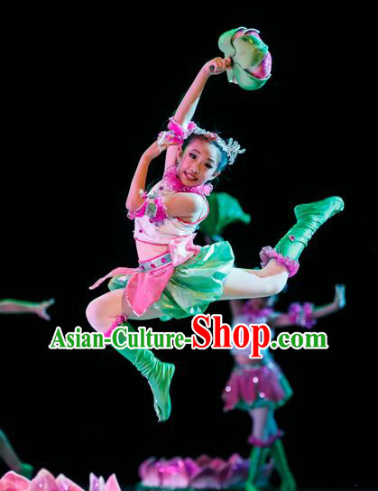 Traditional Chinese Classic Stage Performance Lotus Dance Costume, Chinese Folk Dance Clothing for Kids