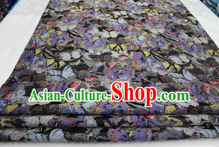 Chinese Traditional Ancient Costume Palace Butterfly Pattern Xiuhe Suit Brocade Mongolian Robe Satin Fabric Hanfu Material